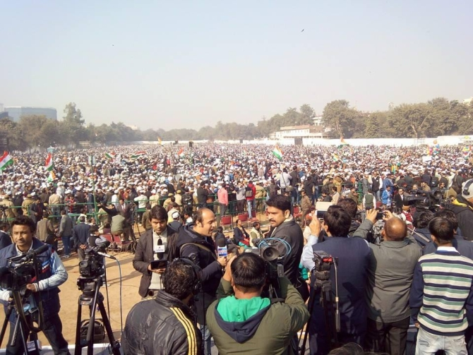 Over a lakh people gathered at Ramlila Maidan for the ceremony