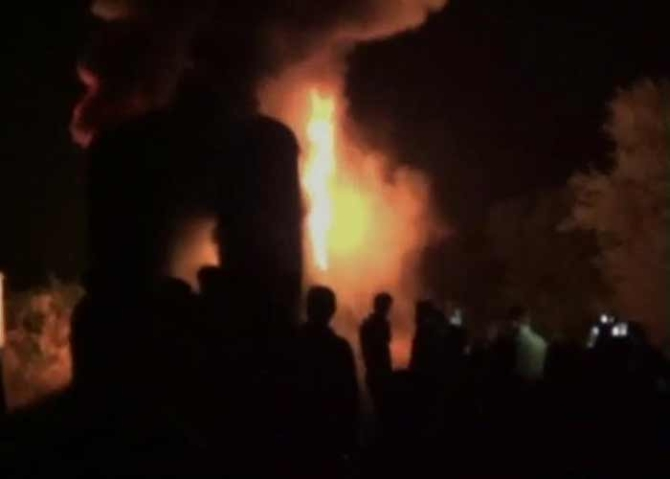 A video grab of the Bangalore-Nanded Express fire