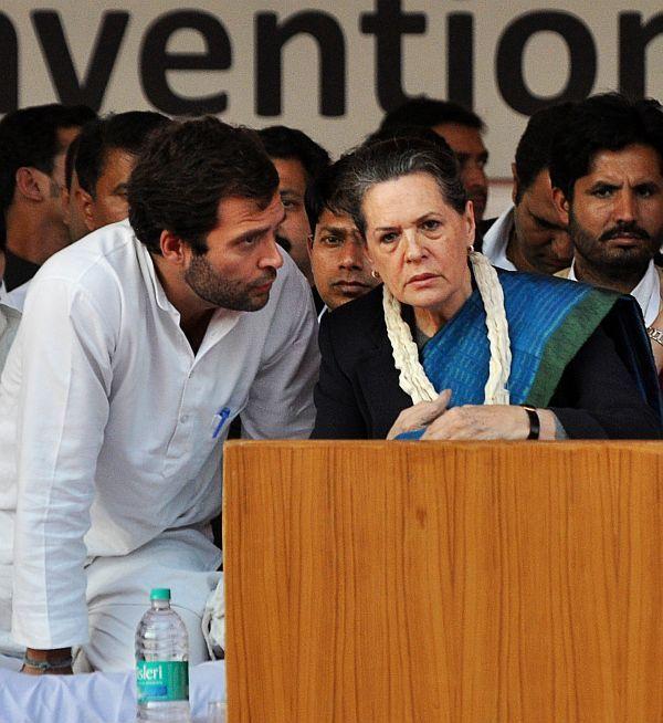 Congress president Sonia Gandhi with vice president Rahul Gandhi