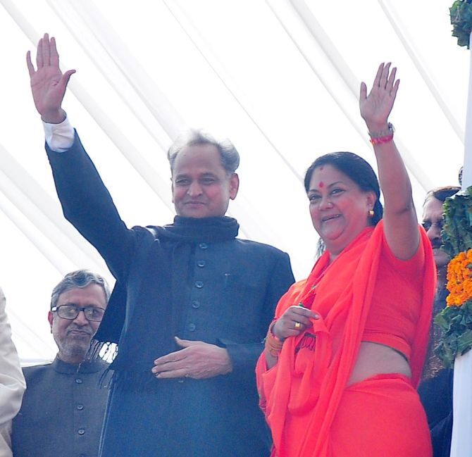 BJP's Vasundhara Raje trounced Ashok Gehlot in the assembly elections in Rajasthan