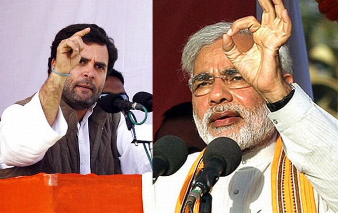Congress Vice president Rahul Gandhi and BJP prime ministerial candidate Narendra Modi