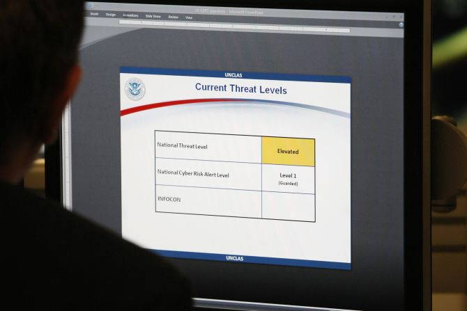 The threat level displayed on a monitor at the US Department of Homeland Security's National Cybersecurity & Communications Integration Centre.