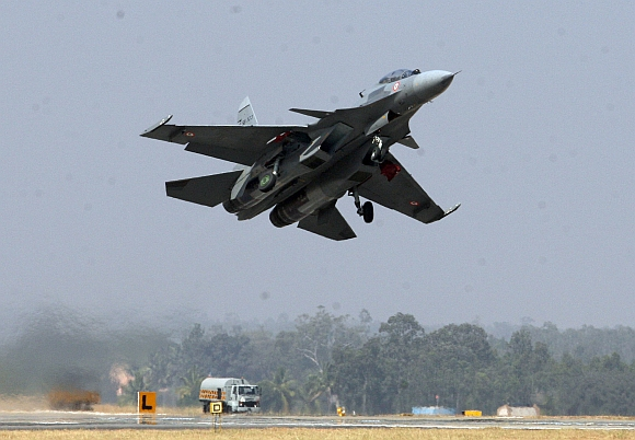 An SU -30 of the Indian Air Force at the Aero India rehearsals at the Yelahanka Air Force Station