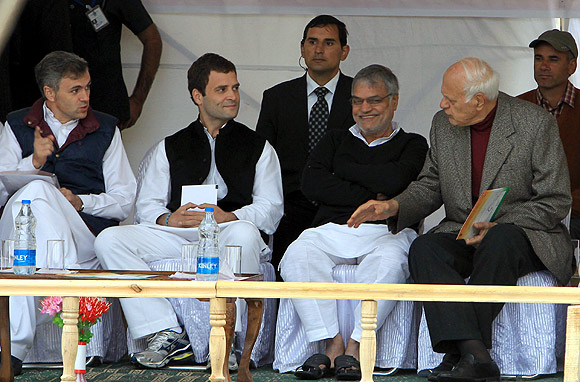 C P Joshi, second right, with Rahul Gandhi, second, left, flanked by Omar Abdullah and Dr Farooq Abdullah.