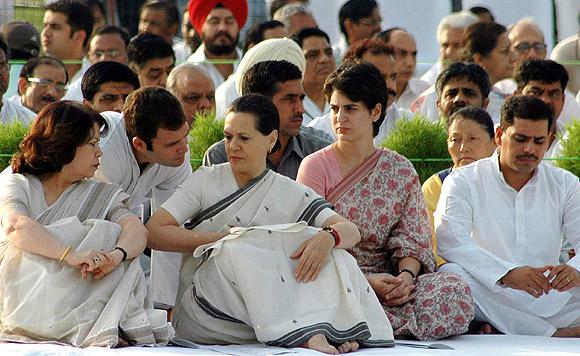 Rahul Gandhi with his mother Sonia Gandhi and sister Priyanka during a prayer meeting at the Rajiv Gandhi Samadhi in New Delhi.