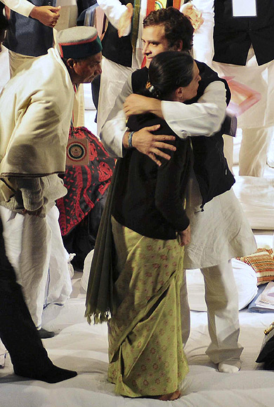 Rahul Gandhi embraces his mother at the Congress's Chintan Shivir in Jaipur, where he was anointed party vice-president.