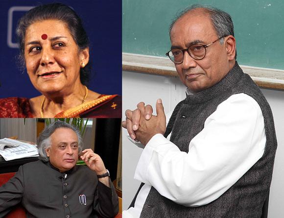 Team Rahul in the AICC: (Clockwise) Ambika Soni, Digvijaya Singh and Jairam Ramesh
