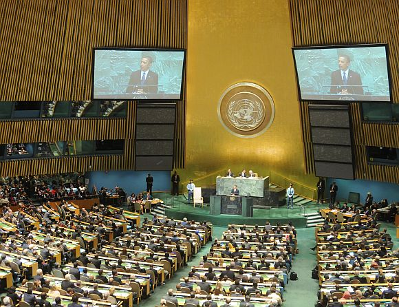 The UN General Assembly session in progress