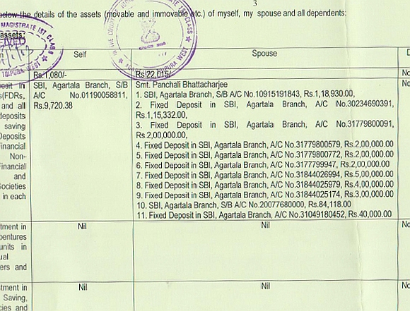 A screenshot of the affidavit filed by the Tripura chief minister for the 2013 assembly election