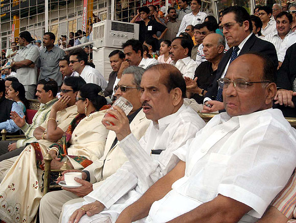 Manohar Joshi, who follows cricket keenly, seen here with a fellow politician and cricket enthusiast, Sharad Pawar.