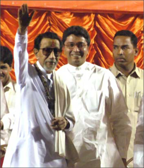 MNS leader Raj Thackeray with his uncle in happier times.