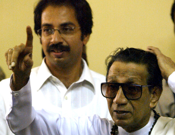 Uddhav with his late father, Balasaheb Thackeray.