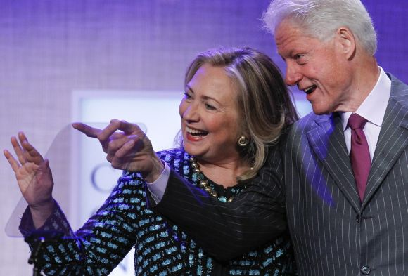 Hillary with husband Bill Clinton, former president of US