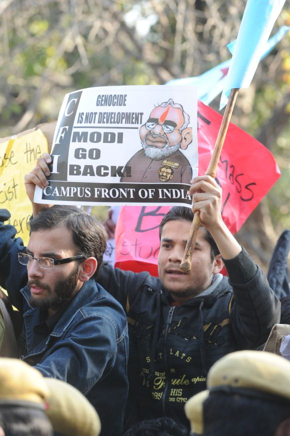 Protests against Narendra Modi were held outside Sri Ram College of Commerce