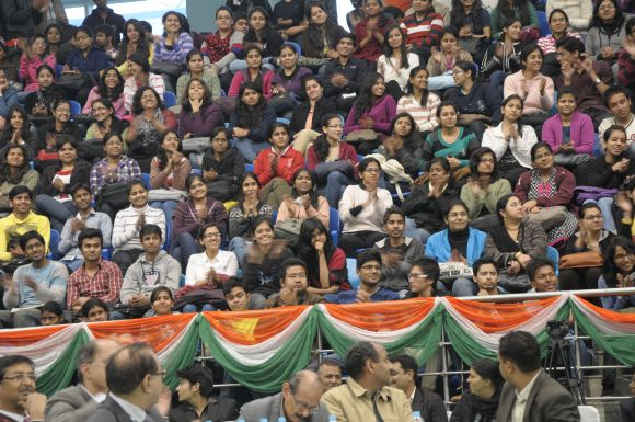 1,800 students listened to Narendra Modi at the Sri Ram College of Commerce.
