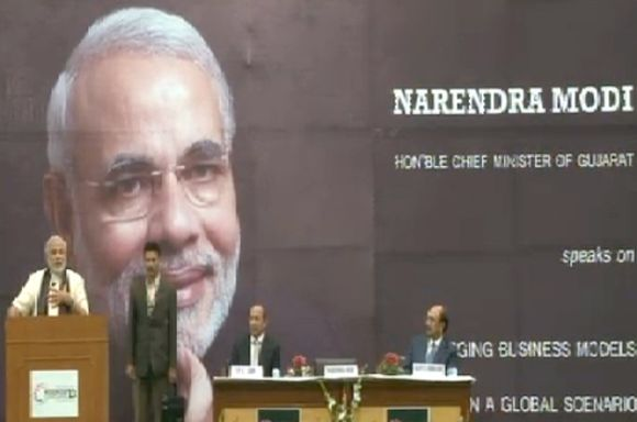 Narendra Modi addresses SRCC students on Wednesday