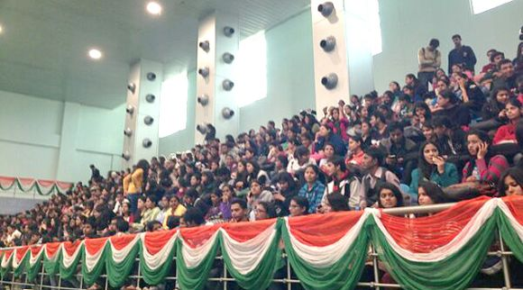 Students listen to Narendra Modi at SRCC College in Delhi