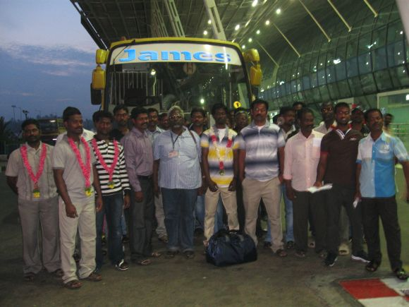 The released fishermen at the Thiruvananthapuram airport