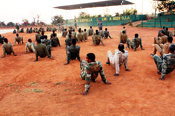 Physical training at The Jungle Warfare College, Kanker.