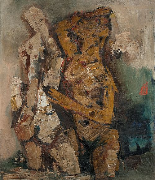 M F Husain's painting titled 'Rani' on display at the exhibition