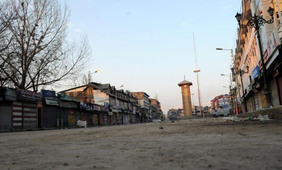 The deserted streets of Srinagar after a curfew was imposed
