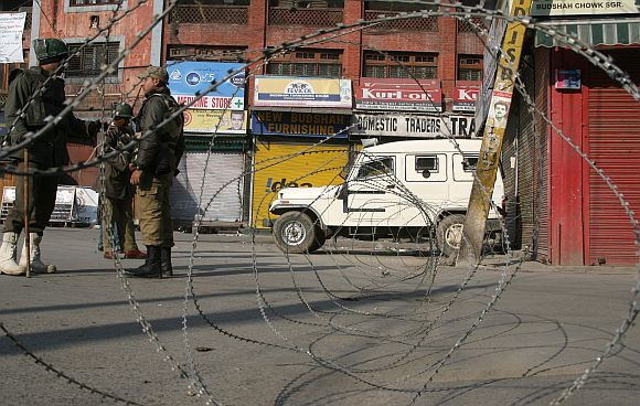 A barricaded street in Srinagar