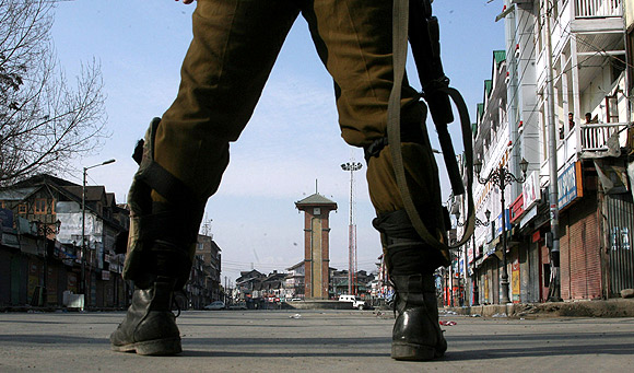 The deserted streets of Srinagar, which has been under curfew since Saturday
