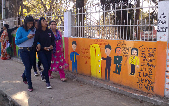 A painting on a Shillong voters exhorts young voters to vote on February 23.