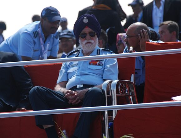 Marshal of the IAF Arjan Singh, the only 5-star officer alive, at the air show.
