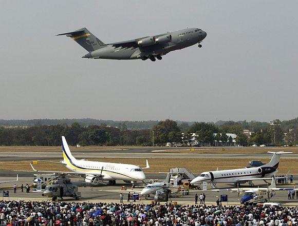 US Air Force C-17 aircraft at Aero India 2013.