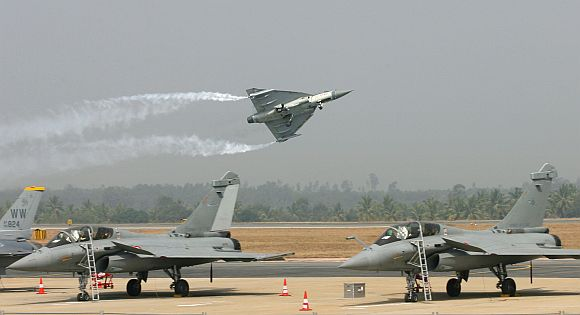 The Light Combat Aircraft Tejas at the air show.