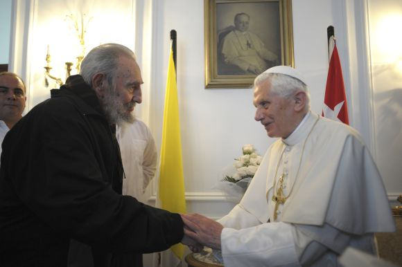 Pope Benedict meets Fidel Castro in Havana on March 28, 2012