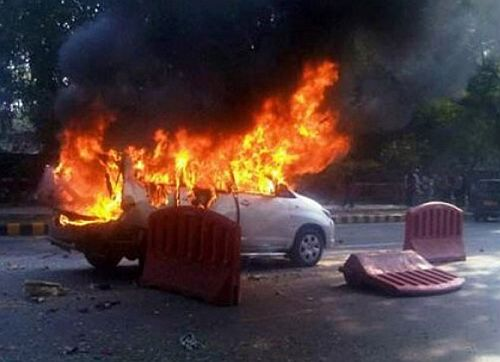 The scene of the attack against an employee of the Israel Embassy in New Delhi
