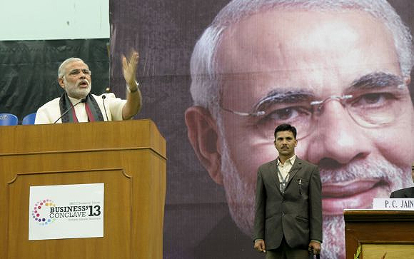 While talking to students in Delhi, Modi pressed all the right buttons for an aspirational India.