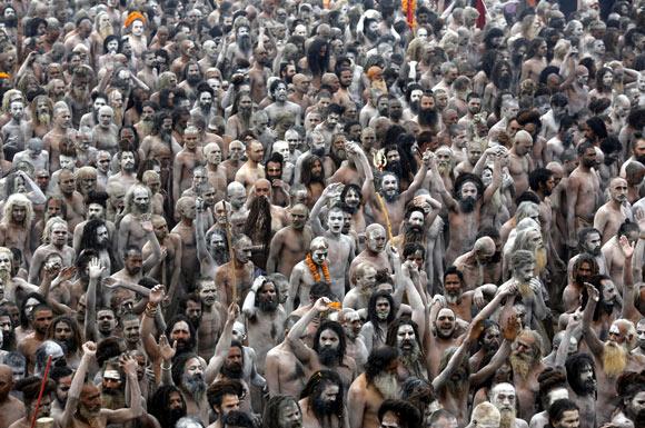 Naga Sadhus take part in the 'Shahi Snan'