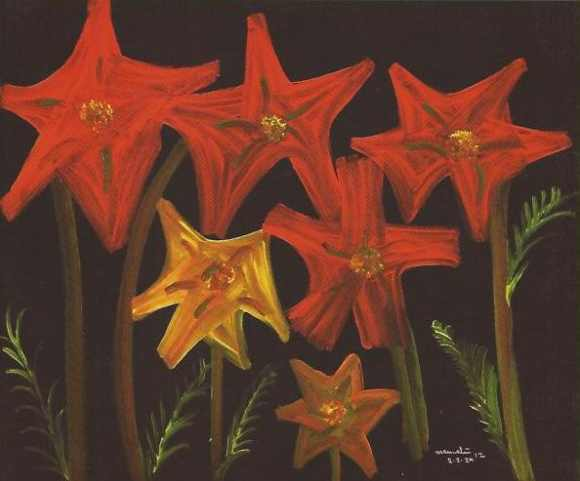 Banerjee's depiction of red lillies