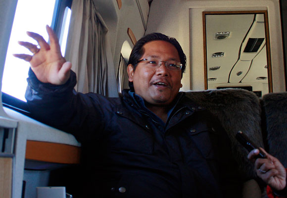 Conrad Sangma in the NPP poll van.