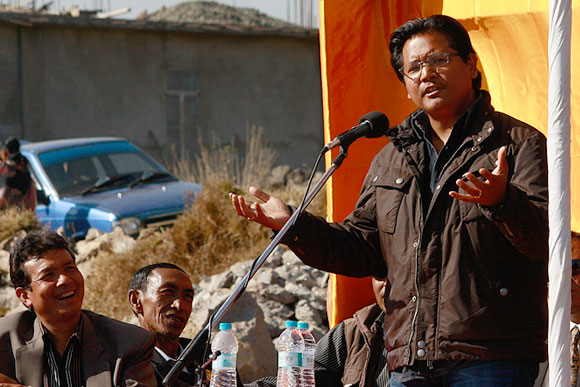 Conrad Sangma, Meghalaya's next chief minister, campaigning during the 2013 assembly election. Photograph: Rajesh Karkera/Rediff.com