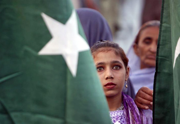 A girl attends a rally in Islamabad
