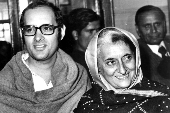 Sanjay Gandhi with his mother, Indira Gandhi