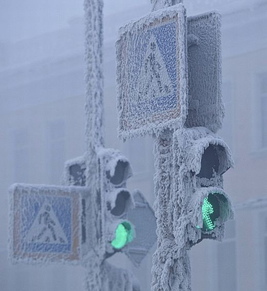 Traffic lights are seen covered in snow in Yakutsk, in the Republic of Sakha, northeast Russia