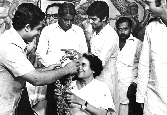 Vinod Mehta interviewed Sanjay Gandhi's aide, Jagdish Tytler, second from right, for the book. Also seen in the picture is a young Ghulam Nabi Azad, right, with Indira Gandhi. Sanjay Gandhi's garlanded portrait can been seen in the background.