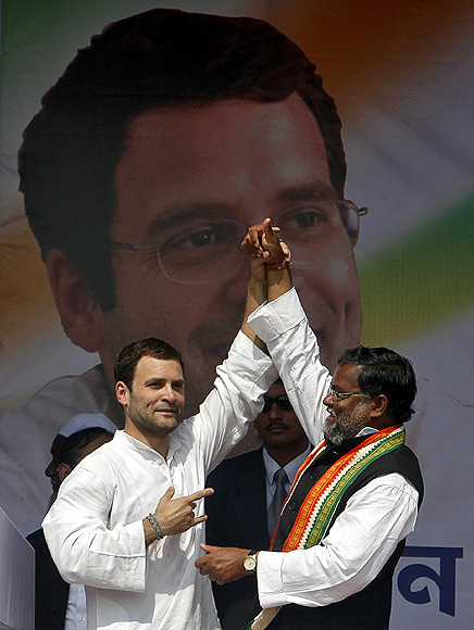 Rahul Gandhi, seen here with Congress candidate Subal Bhowmik, ca
