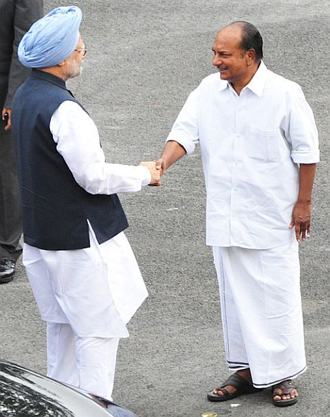 Prime Minister Manmohan Singh with Defence Minister A K Antony