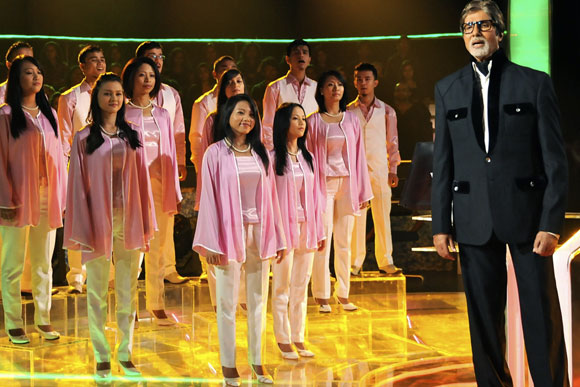 The Shillong Chamber Choir perform at the opening of a new season of Kaun Banega Crorepati