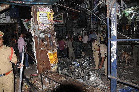 Investigators at the blast site in Hyderabad
