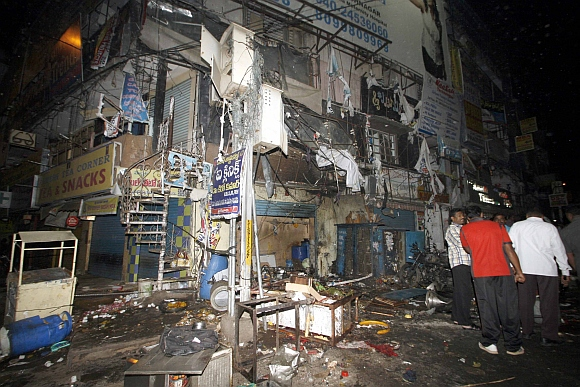 The scene after the blasts at Dilsukh Nagar in Hyderabad