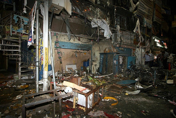 A completely destroyed shop at the blast site