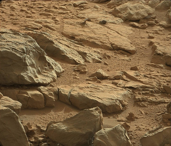 A shiny-looking Martian rock is visible in this image taken by NASA's Mars rover Curiosity's Mast Camera (Mastcam) during the mission's 173rd Martian day