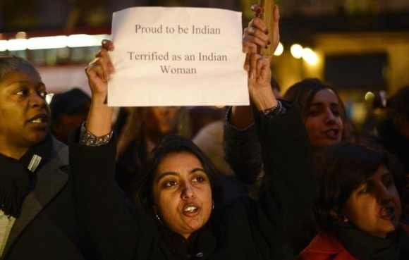 Women protest outside the Indian High Commission, London against the Delhi rape